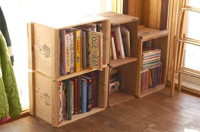 apple crate bookshelf