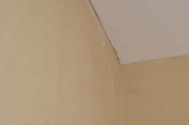 the cracked plaster in the girls room - awaiting patching and painting